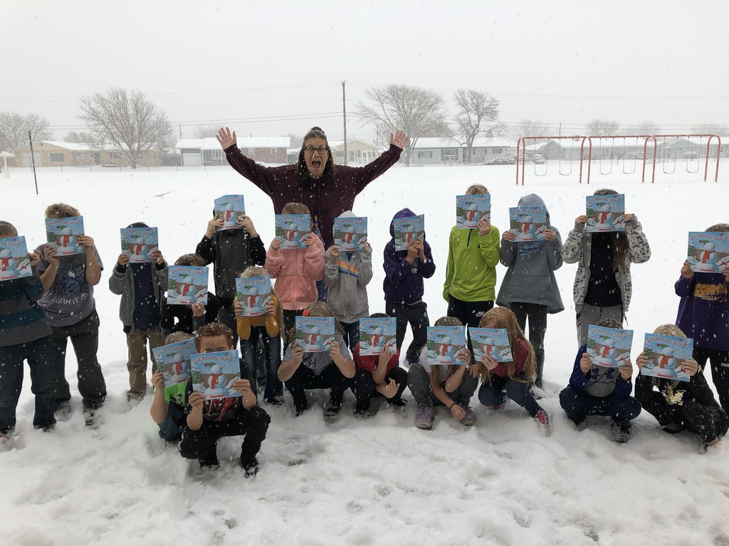 I had some awesome sponsors donate books to my kids each month! This month it was Snowman Magic!! Of course we had to take a picture in the SNOW!!