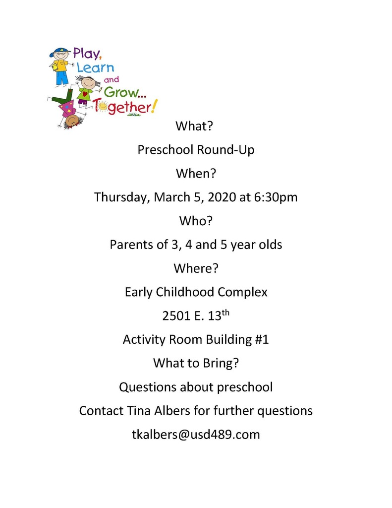 Preschool Round-Up Invite